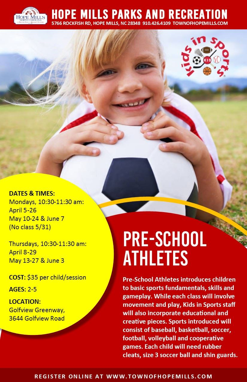 Preschool Athletes Flyer Spring 2021